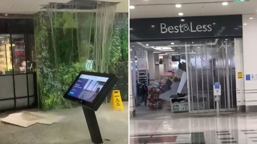 The roof at Westfield Mt Druitt collapsed, sending water gushing down into the shops (left) and caving in ceilings (right). sydney storm