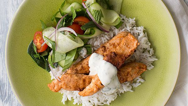 Tandoori-charred chicken with shaved cucumber salad and mint raita