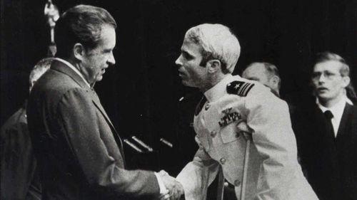 John McCain meeting then-President Richard Nixon upon his release in 1973. (AAP)