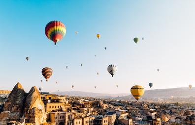 Hot air balloons over Cappadocia in Turkey