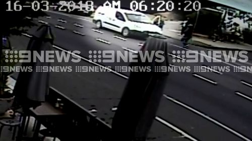 The driver left his car unattended for just a minute when the offender jumped in the front seat. (9NEWS)