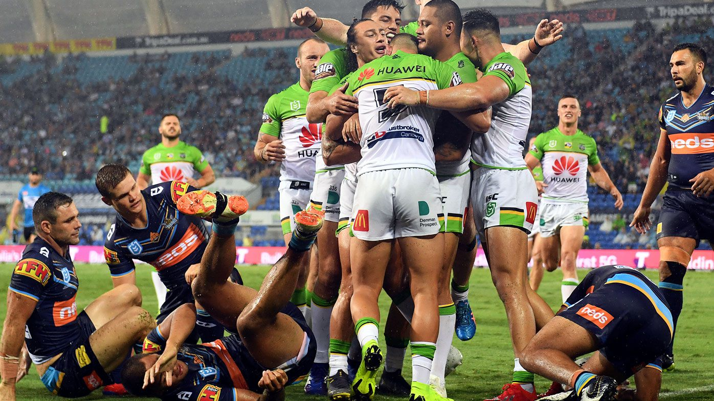 NRL: Canberra Raiders shut out Gold Coast Titans for wet win