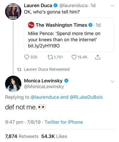 Monica Lewinsky responded to journalist Lauren Duca's tweet with a tongue-in-cheek comment.