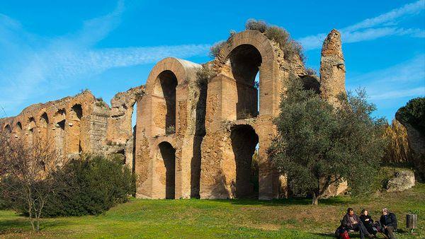 Ruins of aqueduct in park (Appia Antica)