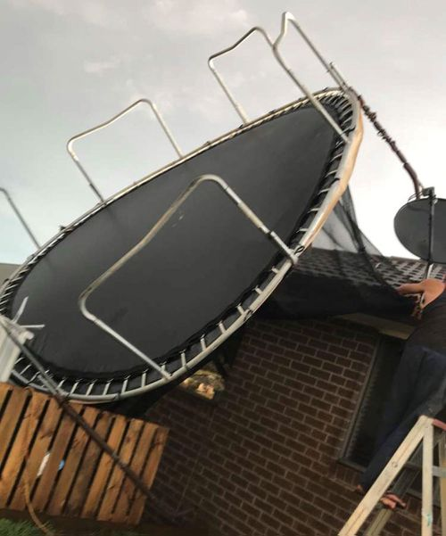 A trampoline has gone through a roof at Wallan. (Supplied)