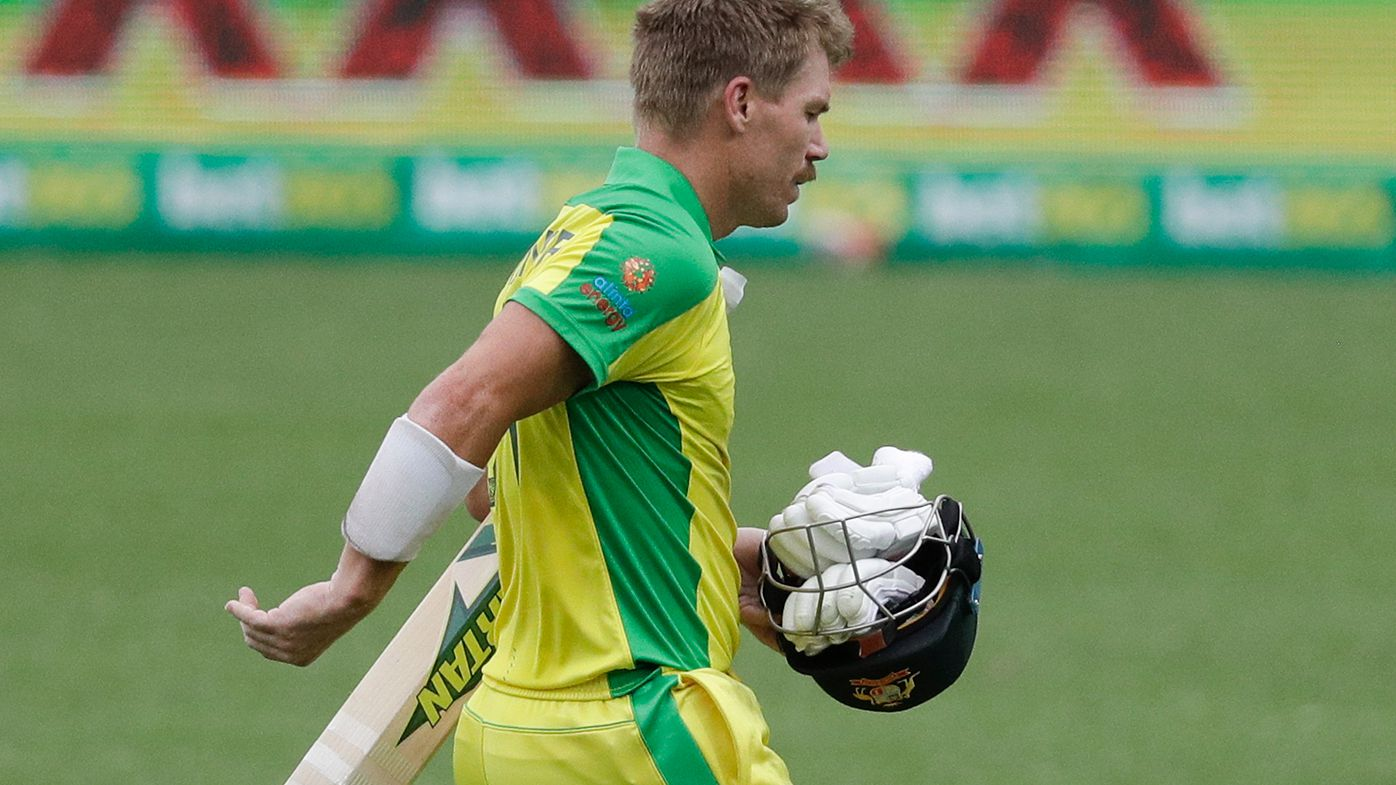 David Warner's horror run has continued during Australia's warm-up match at the T20 World Cup.