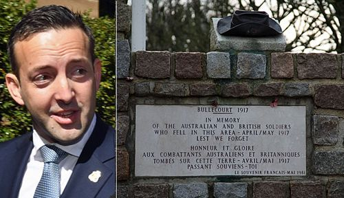 RSL NSW president James Brown and a memorial to Australian and British soldiers in Bullecourt. (Photos: AAP).