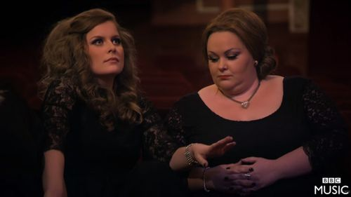 The first Adele fan to realise what had happened looked like she had been knocked off her feet. (BBC)