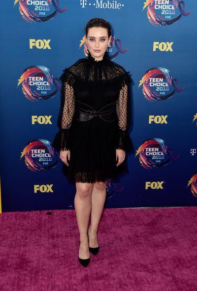 <em>13 Reasons</em> actress Katherine Langford in Alberta Ferretti at FOX's Teen Choice Awards in California, August, 2018&nbsp;