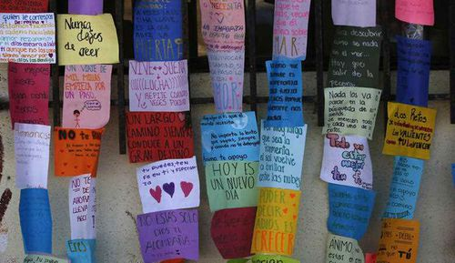 Inspirational messages written by asylum seekers are posted in the main entrance of a former concert venue known as El Barretal, now serving as a makeshift shelter for Central American migrants seeking asylum in the U.S., in Tijuana, Mexico