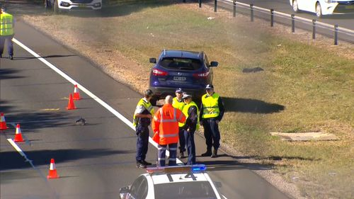 The M2 Motorway features a pedestrian bridge over the road for walkers to avoid crossing the lanes. Picture: 9NEWS.