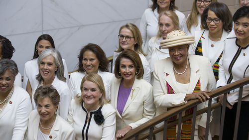 """Nancy Pelosi and other Democratic women are wearing """"Suffragette white"""" to show support for women's issues."""