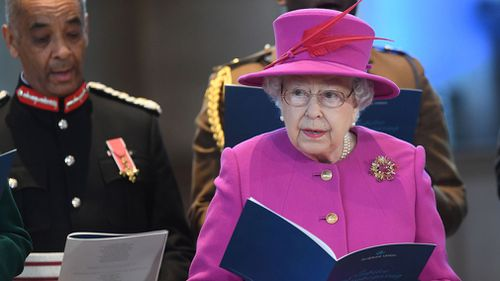 Elizabeth II attending the Scripture Union's 150th anniversary service of celebration on December 6. (AAP)