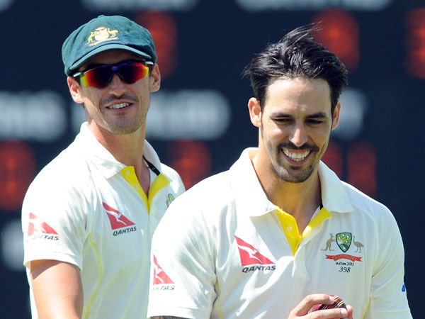 Mitchell Starc and Mitchell Johnson. (AAP)