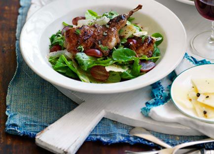 Grilled vincotto quail with grape, pecorino pepato and thyme salad