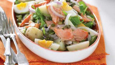 "<a href=""http://kitchen.nine.com.au/2016/05/13/11/45/hot-potato-egg-and-smoked-trout-salad"" target=""_top"">Hot potato, egg and smoked trout salad</a> recipe"