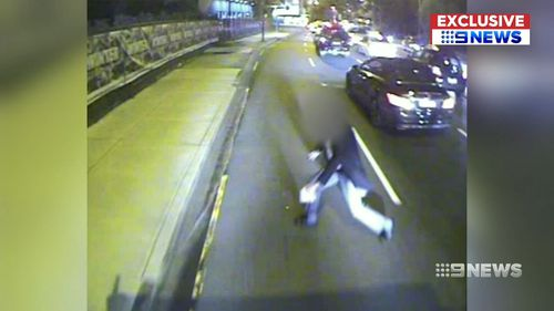 Dashcam footage shows the man stepping out into the path of the oncoming bus. Picture: 9NEWS