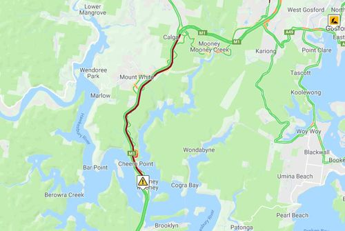 The crash has caused heavy traffic to back up to Mount White. Picture: livetraffic.com