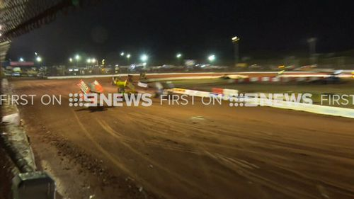 Adam Hourigan crashed his car into the fence at Sydney Speedway.