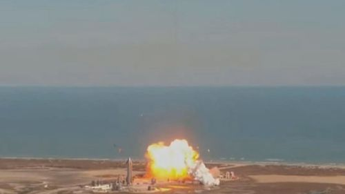 The rocket explodes on landing, similar to a prototype which blew up in December.