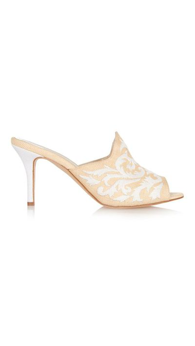 """<a href=""""http://www.matchesfashion.com/au/products/Oscar-De-La-Renta-Roslyn-embroidered-raffia-mules-1008520#"""" target=""""_blank"""">Roslyn Embroidered Raffia Mules, $1,192, Oscar de la Renta</a>"""