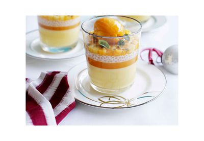 Passionfruit posset with mango and passionfruit sorbet