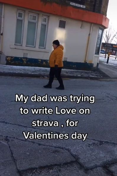 man attempts to write love on strava