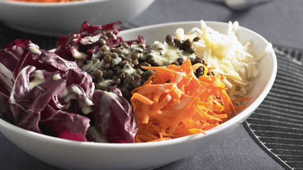 Lentil and root vegetable salad