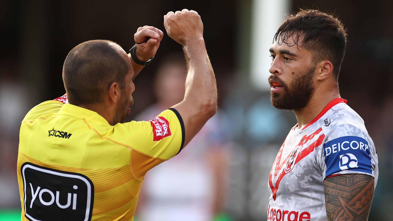 St George Illawarra Dragons Jordan Pereira faces long ban after high tackle on James Tedesco