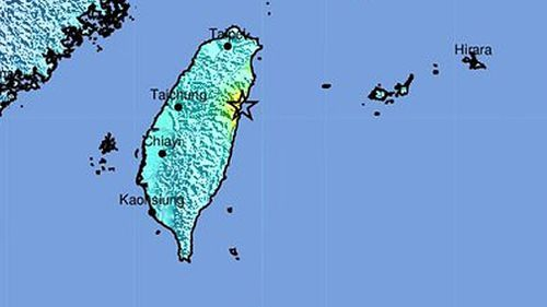 A map showing the impact site of the Taiwan earthquake.