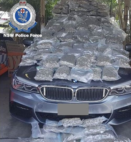 An estimated $1 million worth of cannabis displayed here on a police car.