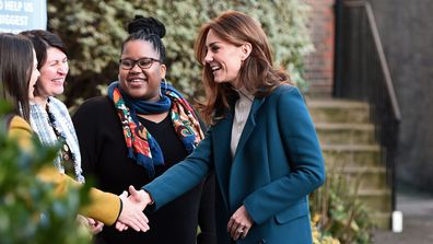 Catherine, Duchess of Cambridge visits LEYF Stockwell Gardens Nursery & Pre-School on January 29, 2020 in London, England.