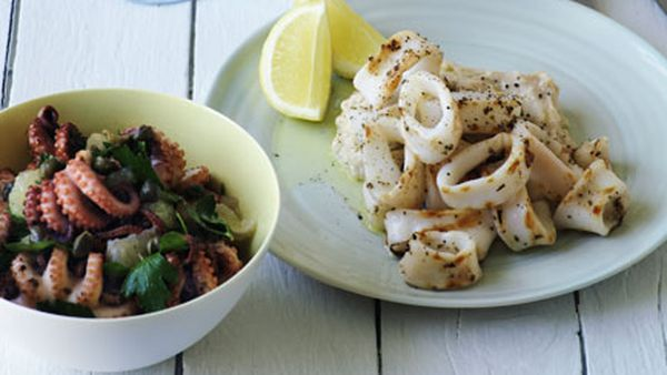 Octopus with lemon, parsley and caper salad