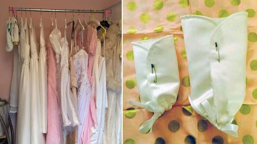 Donated dresses; one of Ms Thomas' burial 'cocoons' for small babies. (Facebook/Lisha Thomas/Little Gowns)