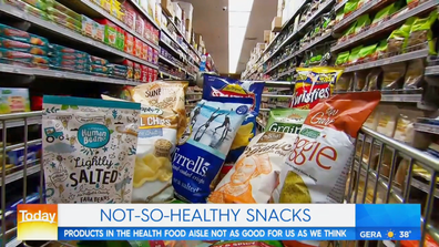 Veggie chips in the supermarket health food aisle