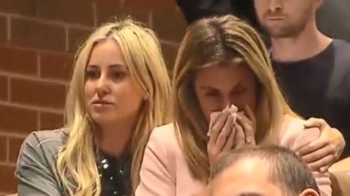 Roxy Jacenko comforts Candice Warner during David's press conference. Picture: 9NEWS