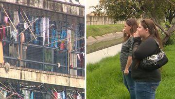 9RAW: Cassie Sainsbury's family yell across Bogota prison moat