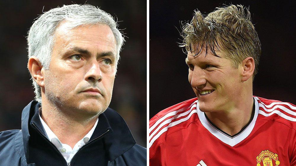 Jose Mourinho and Bastian Schweinsteiger. (AAP)