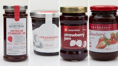 Strawberry jams: Beerenberg, Gradessa, Woolworths Essentials