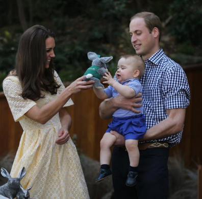 The Duke and Duchess of Cambridge with Prince George in Australia in 2014.