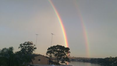 The double rainbow at Connells Point. (Supplied, Anthony Kolmac)