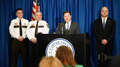 Carver County Attorney Mark Metz, centre, announces at a press conference that no criminal charges will be filed relating to the death of Prince. (AP)