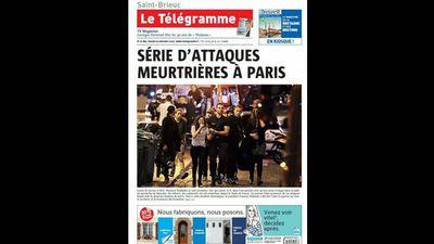 <em>Le Télégramme</em> ran 'Series of murderous attacks in Paris'.