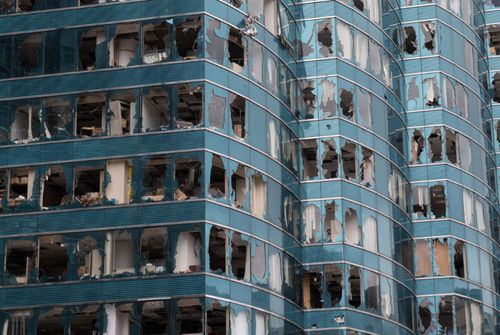 Office towers damaged by Typhoon Mangkhut in Hung Hom district, Hong Kong, China.