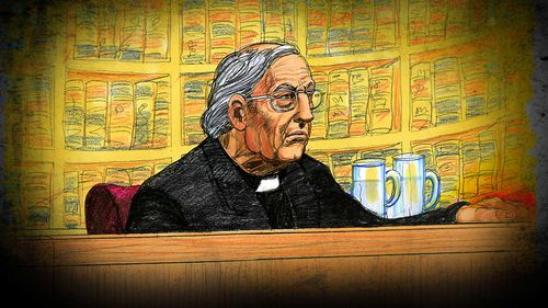 Cardinal George Pell listens to the verdict during his appeal on August 21.