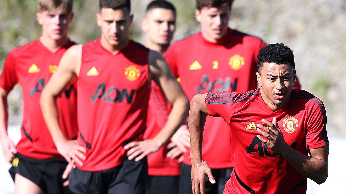 Jesse Lingard of Manchester United in action during first team training session on February 11, 2020 in Malaga, Spain.