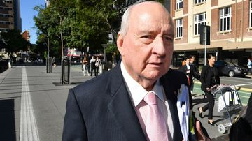 Radio broadcaster Alan Jones arrives at court to testify in his defamation trial. Picture: AAP