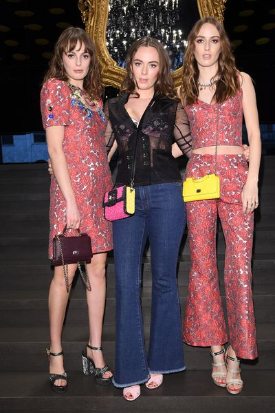 Lady Violet Manners, Eliza Manners and Lady Alice Manners at Dolce & Gabbana A/W'18, Milan Fashion Week