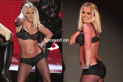 "When Britney made her disastrous comeback at the 2007 MTV Video Music Awards, she probably should have been more concerned about her performance than her out of shape belly. The pop princess, who famously used to do 1000 crunches a day, had an ""ab-defining"" spray tan before the show ""to create the illusion of more tone"" an insider blabbed to <i>Us Weekly</i> magazine."