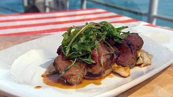 Pan roasted wagyu sirlion with sauteed kipflers and porcini mushrooms